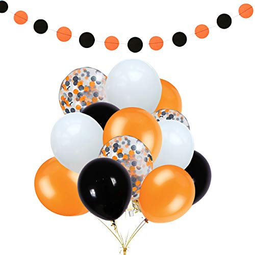 Sorive 30Pcs Orange & Black & White Latex Balloons and Sorive 12Pcs Orange & Black Confetti Balloons for Halloween Party Decoration,Orange & Black Circle Dots Garland -