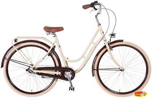 Bicicleta holandesa para mujer 3-velocidades 71,12 cm Swing crema-Marrón + Set de invierno gratis: Amazon.es: Deportes y aire libre