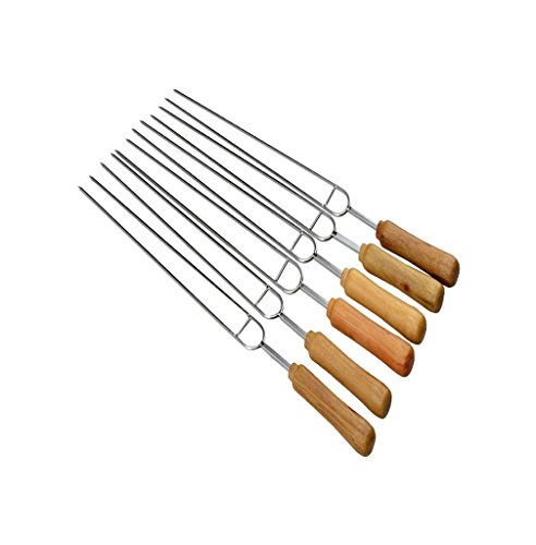 (Double Prong Grilling Skewers, Stainless Steel BBQ Barbecue Kabob Skewers, 16 Inch Long Metal Shish Kebab Skewers With Wooden Handle, 6 Pieces a Pack)