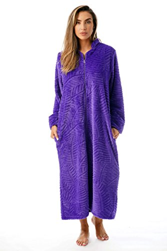 (Just Love Plush Zipper Lounger Robe 6729-PUR-XS Purple)