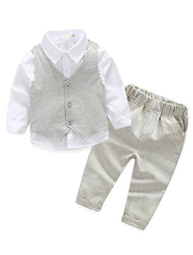Abolai Infant Baby Kid Boy 3 Piece Vest Set Formal Wear Shirt, Vest and Pants Beige 80 (Vest Three Piece)