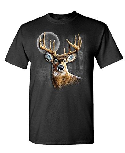 Wilderness Deer - WHITETAIL WILDERNESS deer buck hunter hunt - Mens Cotton T-Shirt, XL, Black