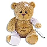 15'' Plush GET WELL SOON Teddy Bear w/Cast for Autograph - Speedy Recovery GIFT for Hospitalized CHILD Adult - KEEPSAKE