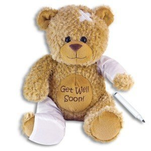 ure Bear with Pen ~ Adorable 15'' PLUSH~ Squeezable Huggable Cuddly~ Broken Leg Arm Cheer ~ Illness Hurt Sickness Hospital Animal ~ (Baby Arm Leg)