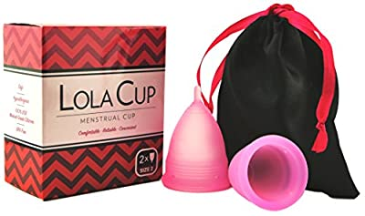 LolaCup Set of 2 Menstrual Cups with Pouch Bag - Reusable Period Cup made of Soft, BPA Free, 100% USA Medical Grade Silicone - Pink Menstruation Cup with Short Stem