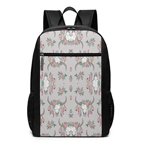 (Ksiwo Boho Longhorn Cow Skull(2593) Travel Laptop Backpack, Anti Theft Backpack Port for Men and Women, Water Resistant College School Computer Bookbag,Business Bags)