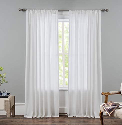 DriftAway Solid Privacy Sheer Curtains White Semi Sheer Curtains for Living Room Bedroom and Office 2 Panels Each 52 Inch by 84 Inch