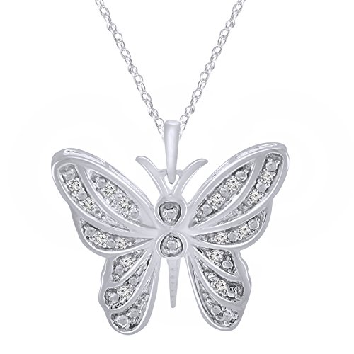Trillion Jewels 925 Sterling Silver 0.10 ct Genuine Diamond Butterfly Pendant Necklace 18