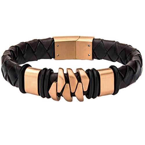 Tribal Hollywood Kilowatt Rose Gold Steel and Brown Leather Modern Style Mens Bracelet