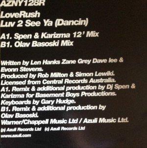 Luv 2 See Ya (Dancin) (Remixes) - Loverush 12