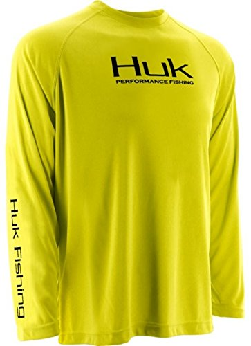 HUK H1200018BYWL Huk Performance Raglan Long Sleeve Shirt, Blaze Yellow, Large