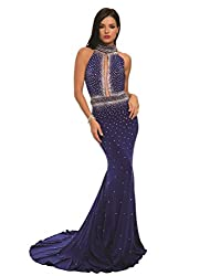 Women's Rhinestone Studded Evening Prom Long Gown