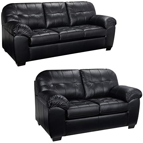 Sofaweb.com Emma Black Italian Leather Sofa and Loveseat ()