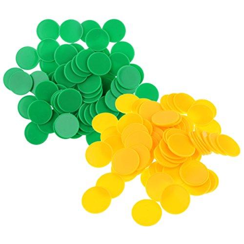 Fenteer 約200枚入り ビンゴゲーム カードゲーム マーカー ボードゲーム ビンゴチップ 2色セット プラスチック 高品質 - 黄+緑