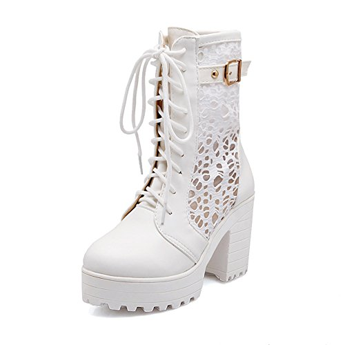 Lucksender Womens Lace Up Platform Combat Chunky Heel Martin Boots White mJCgnF8lv