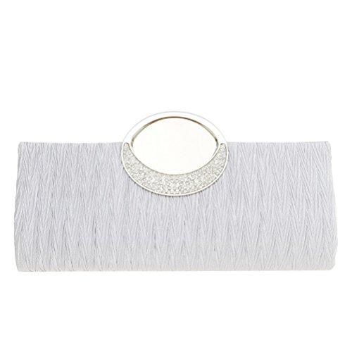 Fashion Road Womens Luxury Evening Wedding Party Purse Clutch Rhinestone Satin Pleated Handbag Wallet White