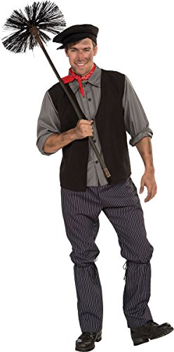 Chimney Sweep Bert Costume (Adults Fancy Party Bert Mary Poppins Chimney Sweep Men's Complete Outfit Grey)
