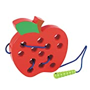 Lewo Wooden Learning Early Development Baby Toys Lacing Threading Big Apple Educational Toys for Kids