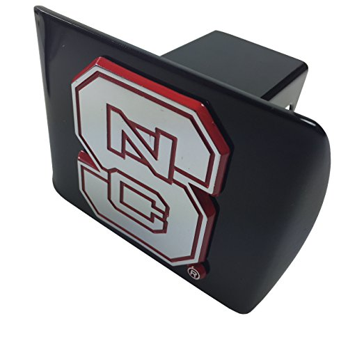 North Carolina State University METAL emblem (with red trim) on black METAL Hitch Cover