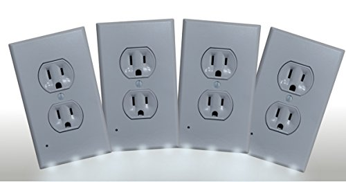Telephone Tap Wall Plate (Wall Plate Night Light - 3 LED Outlet Cover - ( 4 Pack ) - Safety Light for Bathroom, Kitchen, Bedroom Decor DIY Home Improvement - Simple to Install. DUPLEX style cover plate, Sold by Guco Products.)