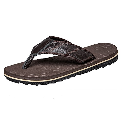 Flop Flip Comfortable Outdoor JIONS Sandals and Handmade Fashion Dark Men's Slipper Indoor Brown Beach Classical PqEEtaRY