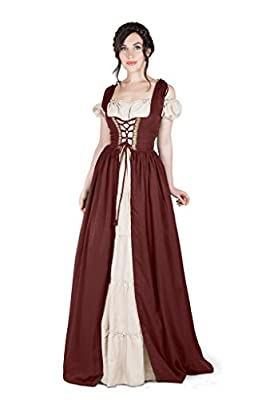 I Do Declare Renaissance Medieval Irish Costume Over Dress & Boho Chemise Set