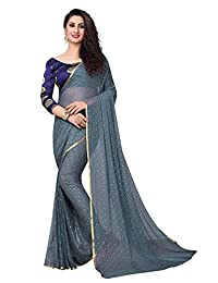 VintFlea Womens Bollywood Designer Party Wear Chiffon Saree with Blouse Piece