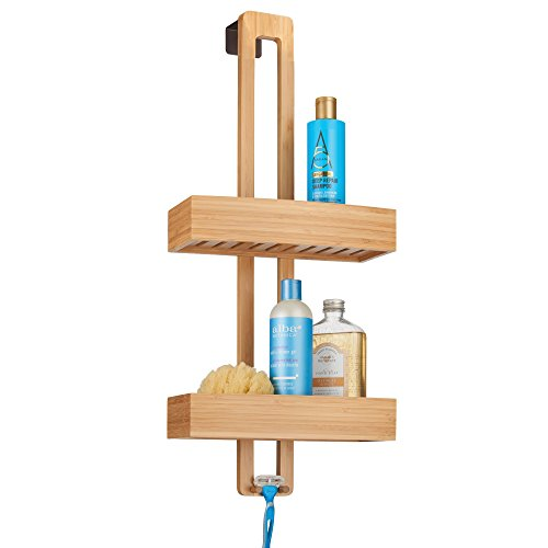 mDesign Modern Bamboo Wood Over The Shower Door Bathroom Caddy Storage Organizer for Shampoo, Conditioner, Body Wash, Razors, Loofahs, Sponges, Soap - Natural Finish -