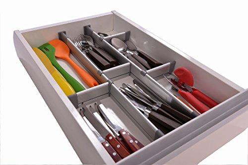 adjustable drawer organizer customizable elegant aluminum for clutter free kitchen junk. Black Bedroom Furniture Sets. Home Design Ideas