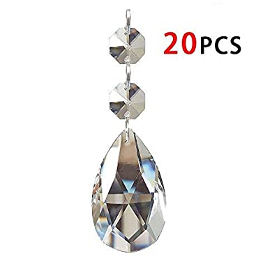 20Pcs Chandelier Crystals, Clear Teardrop Crystal Chandelier Pendants Parts Beads, Hanging Crystals for Chandeliers (38mm, Clear): Arts, Crafts & Sewing