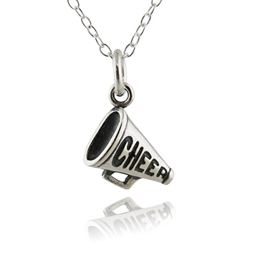 Sterling Silver Tiny Cheer Megaphone Charm Necklace, 18