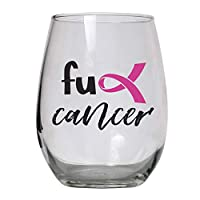 Breast Cancer Awareness Gift Large 15 oz Stemless Wine Glass Gifts for Women, Men, Post Surgery, Survivor, Chemo, Chemotherapy Patients, Get Well