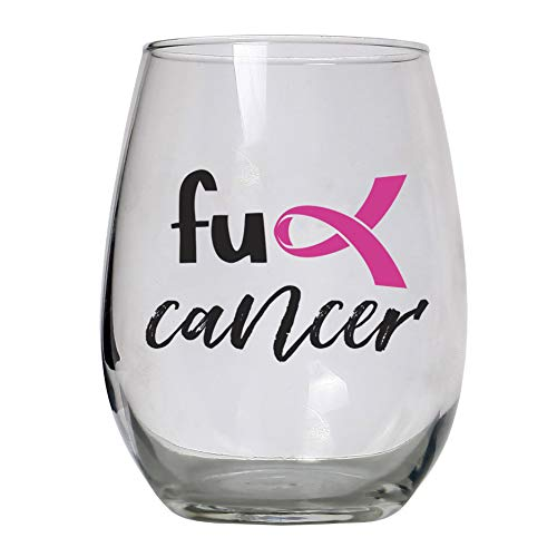 Breast Cancer Awareness Gift Large 15 oz Stemless Wine Glass Gifts for Women, Men, Post Surgery, Survivor, Chemo, Chemotherapy Patients, Get Well (Best Gifts For Breast Cancer Patients)