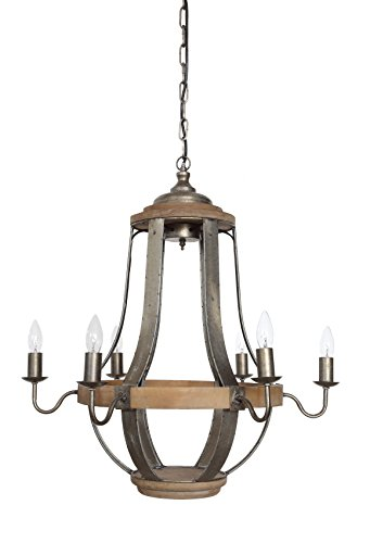 Creative Co-Op Casual Country Wood & Metal Chandelier Six Lights by Creative Co-op