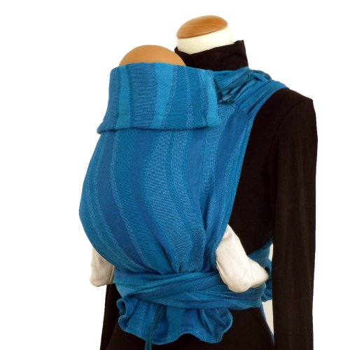 DIDYMOS Meh-Dai/Mei Tai (DidyTai) Baby Carrier Waves Aqua (Organic Cotton), One...
