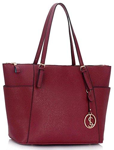 LeahWard® Große Größe Schultertaschen Zum Damen mode Berühmtheit Stil Damen Einkaufstasche Essener Tote Handtasche A4 350 Burgundy IurVbn