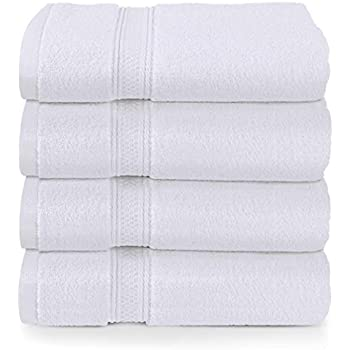 Utopia Towels Luxury Hotel and Spa Soft Bath Towels, 100% Combed Cotton Towels, 4 Pack, White