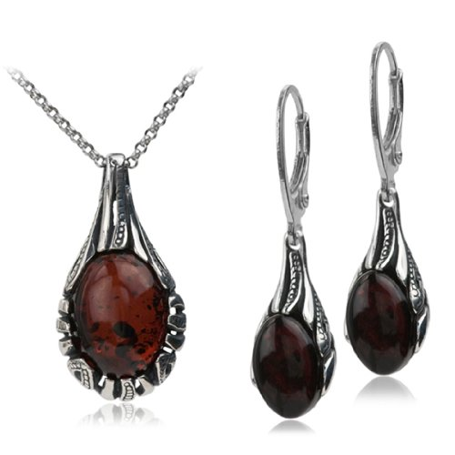 Sterling Silver Red Dark Amber Drop Necklace Set 18 Inches