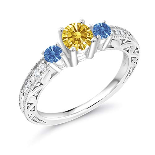 925 Silver 3-Stone Ring 5mm Set with Golden Yellow Zirconia from Swarovski (Size 8)