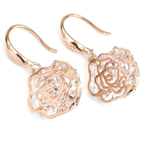 FC JORY Rose Gold Plated Cubic Zirconia Filigree Flower Drop Rose Floral Earrings