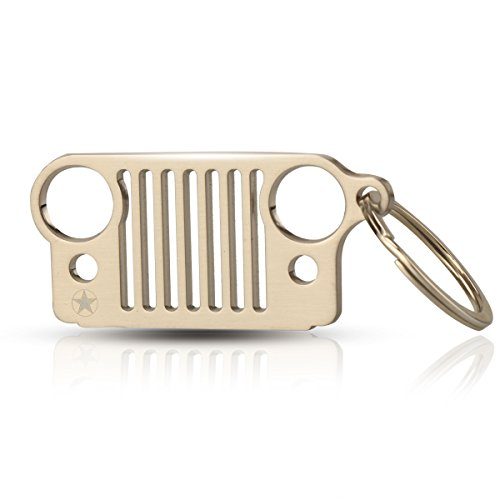 Silvery Star - xhorizon FL1 Car Key Chain Keychain Key Ring for Jeep Wrangler Accessories Enthusiasts-Jeep Front Grill Design and Stainless Steel Material with Bonus - S Shape Hook (Silvery Star)