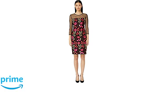 70a3c3b0 Alexia Admor Women's Embroidered Sheath Dress w/Illusion Sleeves at Amazon  Women's Clothing store:
