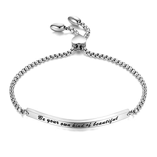 ainless Steel Engraved Inspirational Quote Curved Bar Bracelet Jewelry Gift for Women Girl ()