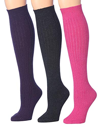 (Tipi Toe Women's 3-Pairs Ribbed Cable Knee High Wool-Blend Boot WiNTER Socks, (sock size 9-11) Fits shoe size 6-9, WK02-A)