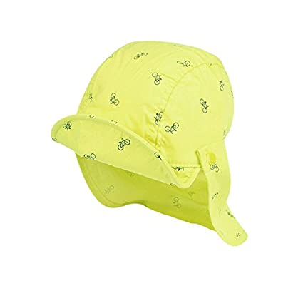b3b9fea27c5 Yellow   Baby Sun Caps Cotton Neck Protect Girls Boys Caps Breathable Sun  Girls Hats Bicycle