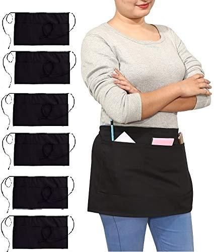 Ruvanti Black Waitress Apron - 6 Pack, Cotton Enriched Waist Apron with 3 Pockets- Long Ties,Extra Coverage, Commercial Grade Server Aprons. Durable Fabric, Comfortable Half Apron/Money Apron. ()