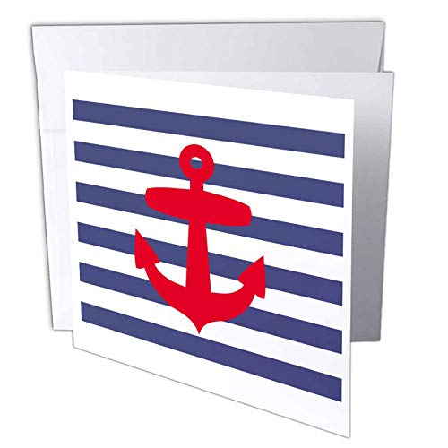 (3dRose Retro Nautical Red Anchor with navy blue sailor stripe pattern - French Breton stripes - Greeting Cards, 6 x 6 inches, set of 12 (gc_57479_2))
