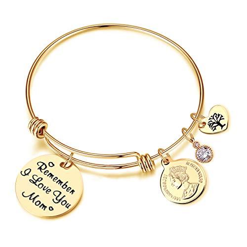 EGOO YAMEE Remember I Love You Mom Heart Charm Bangle Bracelet Mom Daughter Jewelry(Gold)]()