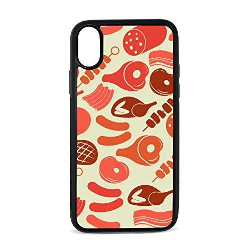 Case for iPhone Ham Breakfast Meat Food Creative Digital Print TPU Pc Pearl Plate Cover Phone Hard Case Cell Phone Accessories Compatible with Protective Apple Iphonex/xsCase 5.8 Inch