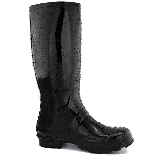 DailyShoes Damen Mittelkalb Kniestrumpf Hunter Regen Round Toe Rainboots Schwarz